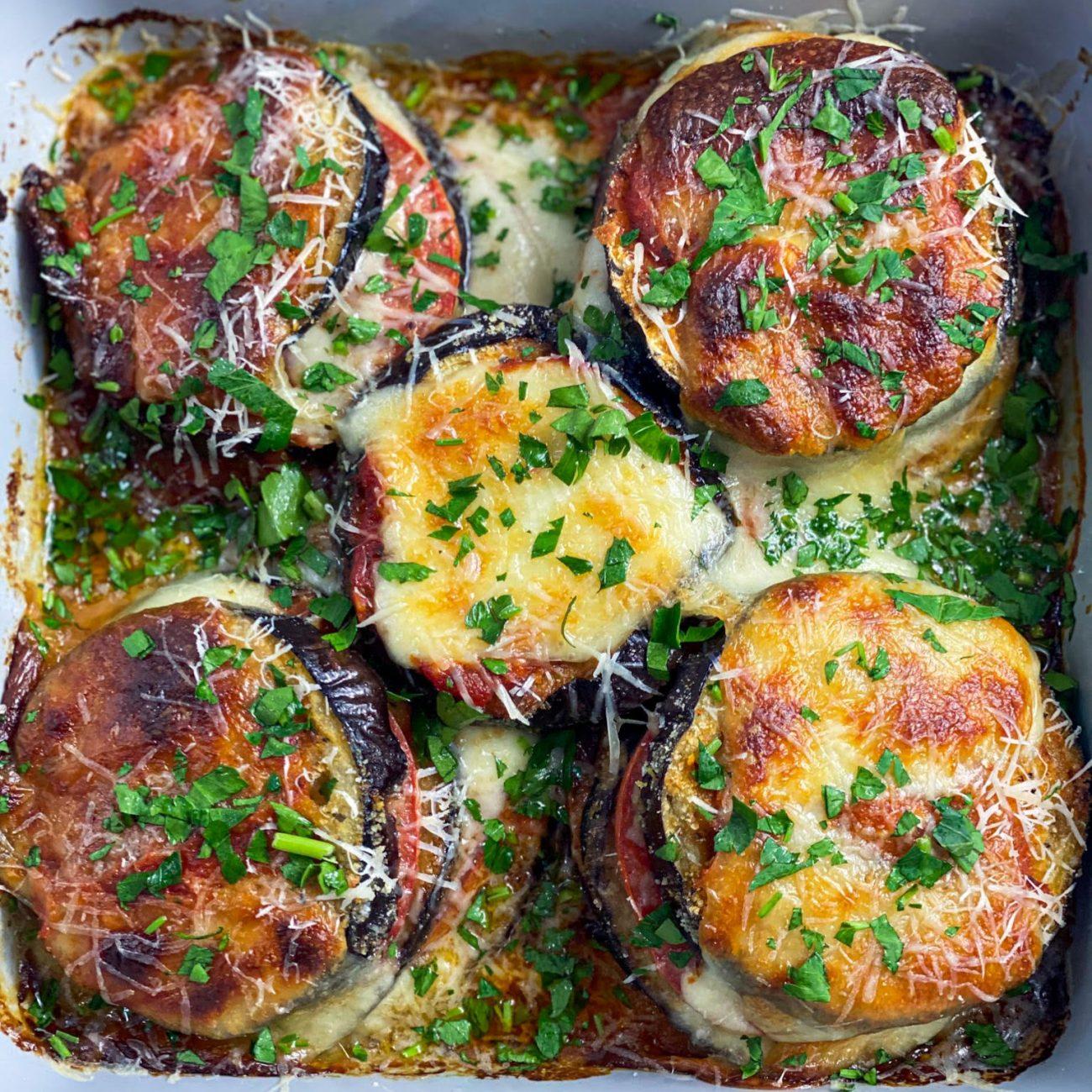 Easy Eggplant Parmesan Towers