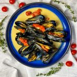 Belgian style Mussels in White Wine Creamy Sauce