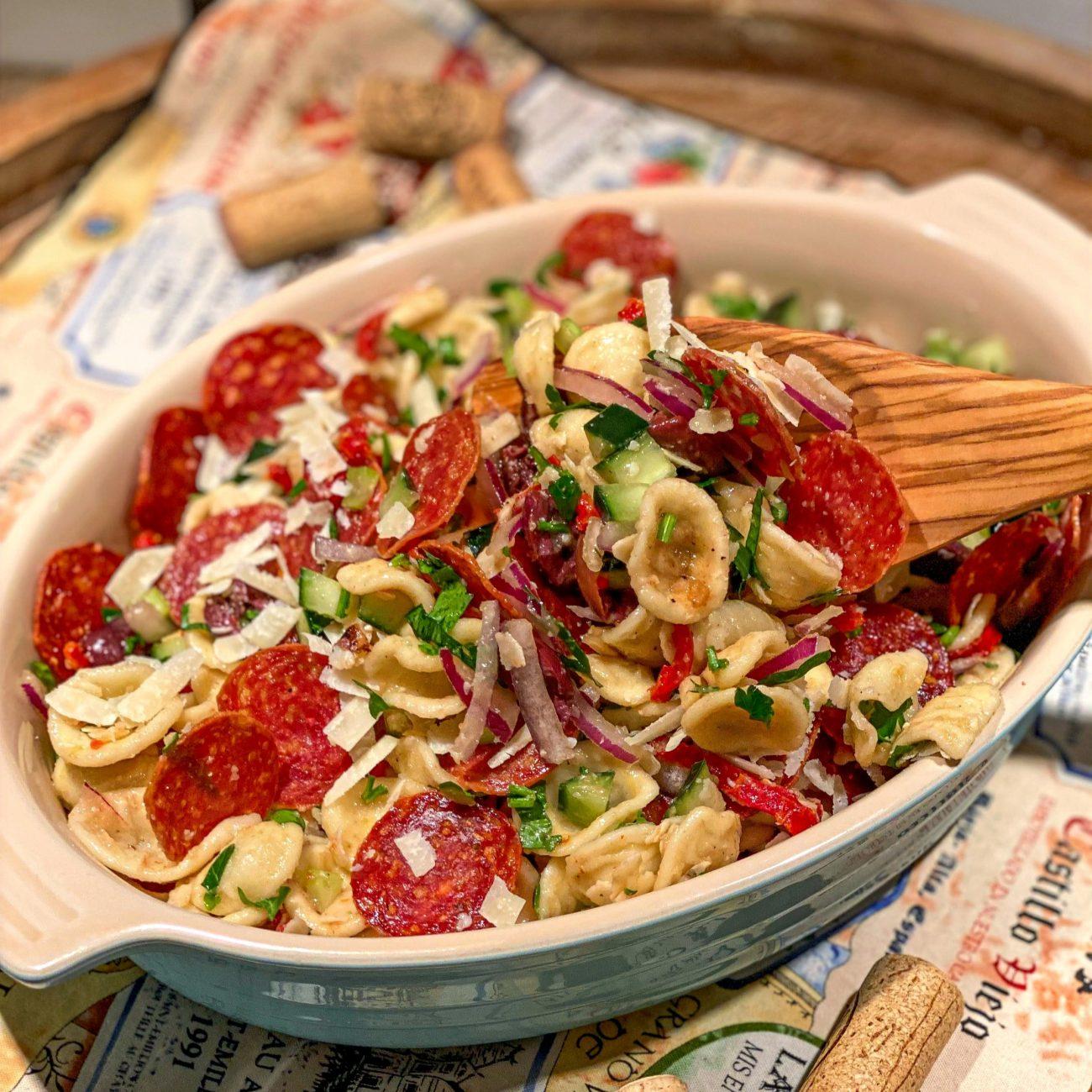 Orecchiette Salad with Salami Chips Recipe