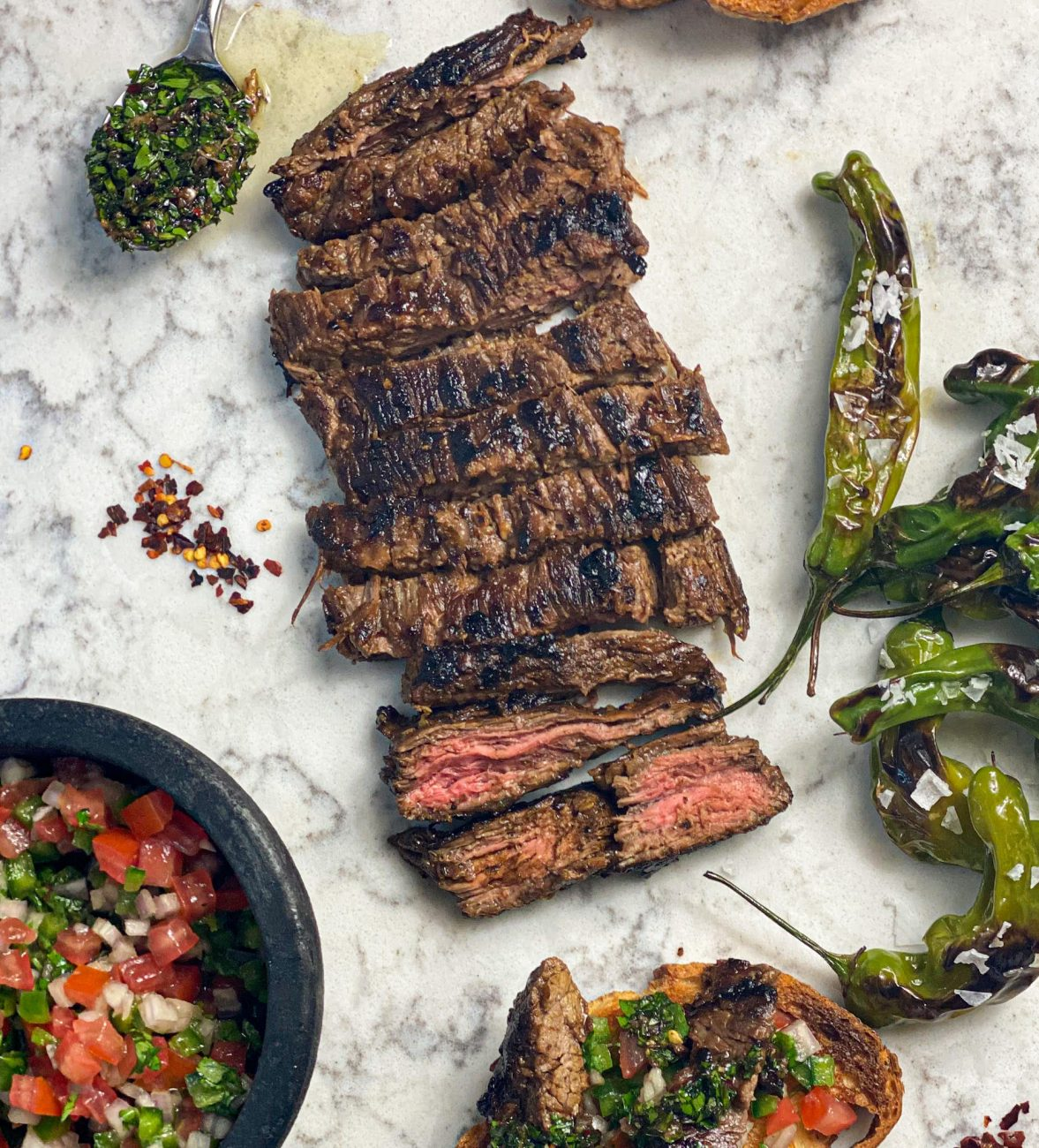 Seared Skirt Steak With Chimichurri Sauce